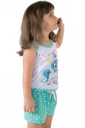 Baby-doll de malha infantil 174 (verde piscina) | Ref: CEZ-PA174-002