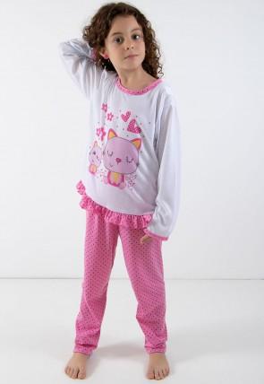 a17b0c141 ... Pijama longo de Malha Infantil 185 Rosa C Gatinho