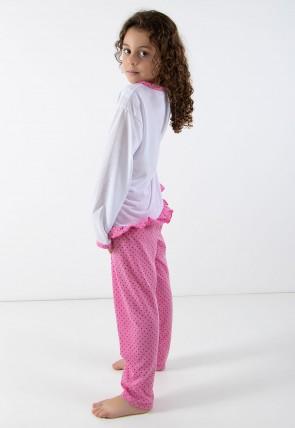 Pijama longo de Malha Infantil 185 Rosa C/Gatinho | Ref: CEZ-PA185-002
