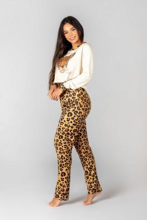 Pijama Cropped de Manga Longa e Calça Estampa Digital (Oncinha) | Ref: K2992-A