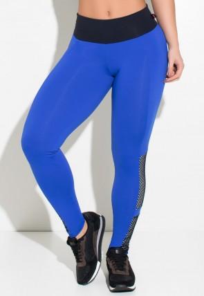 Calça Três Cores com Recorte e Tela | Poliamida Excelente! | (Azul Royal / Preto / Branco) | Ref: KS-PL24-001