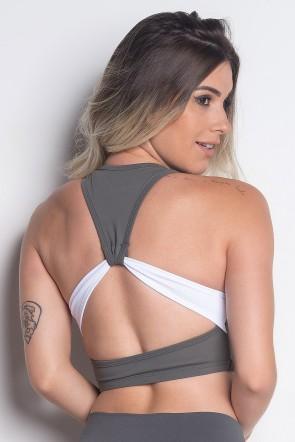 Top Duas Cores com Detalhe nas Costas e Silk (Kaisan Brasil) | Poliamida Excelente! | (Chumbo / Branco) | Ref: KS-PL39-001