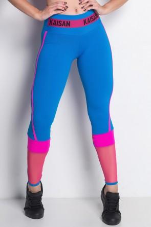 Calça duas Cores com Detalhe em Tule e Cós com Elástico | Poliamida Excelente! | (Azul Celeste / Rosa Fluor / Rosa Pink) | Ref: KS-PL55-001