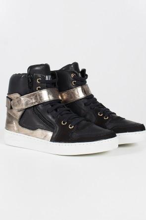 Sneaker Unissex Preto com Dourado | Ref: T33