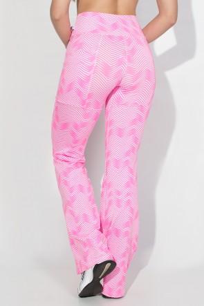 Calça Bailarina Estampada com Bolso Lateral (Setas Brancas com Rosa Fluor) | Ref: KS-F191-005