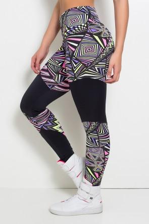 Calça Legging Estampada Bianca (Quadrados e Triângulos Roxo Rosa e Verde Limão / Preto) | Ref: KS-F187-001