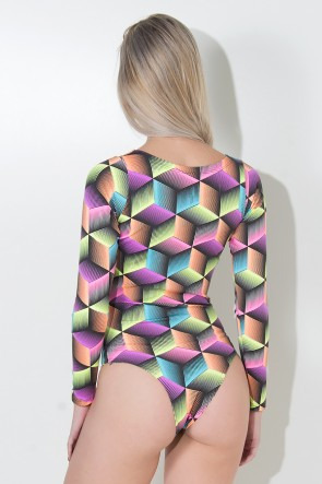 Body Estela sem Bojo (Quadrados 3D Coloridos) | Ref: KS-F221-005