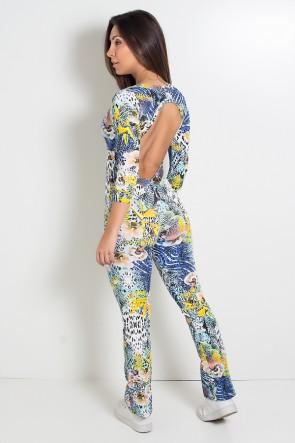 Macacão Fitness Nicole Estampado (Floral com Oncinha) | Ref: KS-F163-001