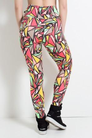 Legging Estampada Preto com Triângulos Coloridos | Ref: KS-F27-062