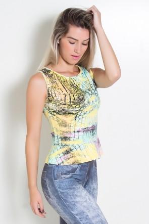 Blusa Blake Estampada com Babado (Escama Amarela Rosa e Verde Água) | Ref: KS-F443-007