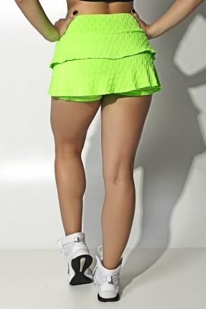 Short Saia Priscila Tecido Bolha Flúor (Verde Limão Flúor) | Ref: KS-F402-003