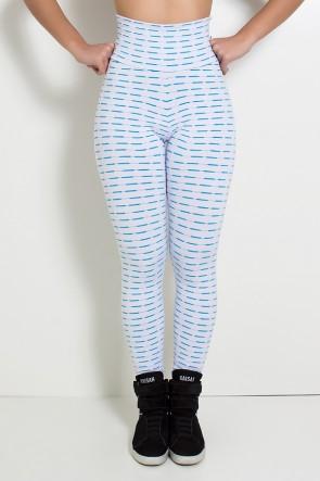 Calça Legging Mini Mesh (Branco/Verde Esmeralda) | Ref: KS-F115-004