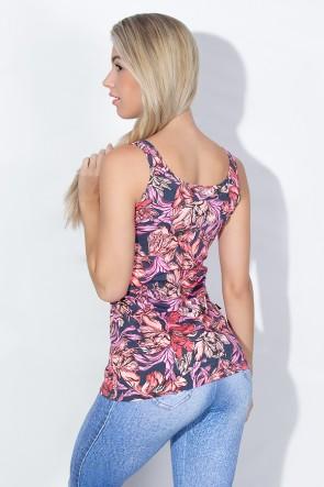 Camiseta Estampada Caroline (Folhas Rosa Salmão e Vermelho) | Ref: KS-F256-002