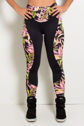 Calça Daniele Lisa com Detalhe Estampado (Preto com Folhas Verdes e Rosa Fluor / Preto) | Ref: KS-F243-003
