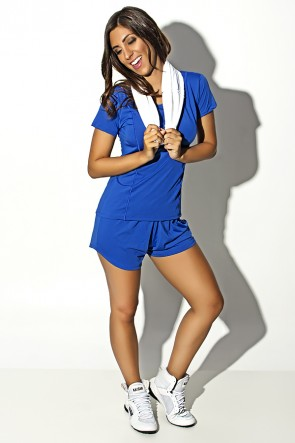 Conjunto Camisa + Short de Microlight (Azul Royal) | Ref: KS-F861-002