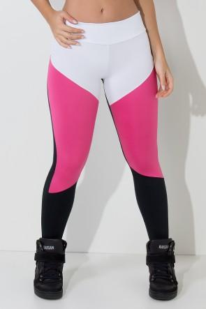 Calça Três Cores com Recorte em V (Branco - Preto - Rosa Pink) | Ref: KS-F1734-001