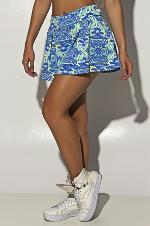 Short Saia Estampado com Bolso e Pregas (Abstrato Azul e Verde Limão) | Ref: F1180