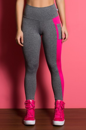 Calça Mescla com Detalhe Liso e Bolso Lateral (Mescla / Rosa Pink) | Ref: KS-F1930-001