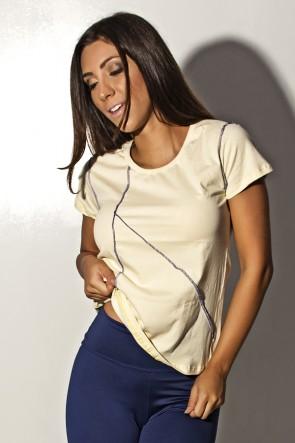 Camiseta de Malha Amarela com Ponto de Cobertura | Ref: F1159