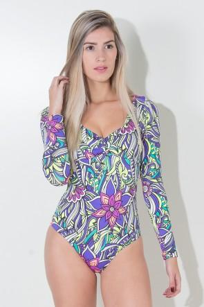 Body Estela sem Bojo (Tribal Colorido com Flor Roxa) | Ref: KS-F221-003