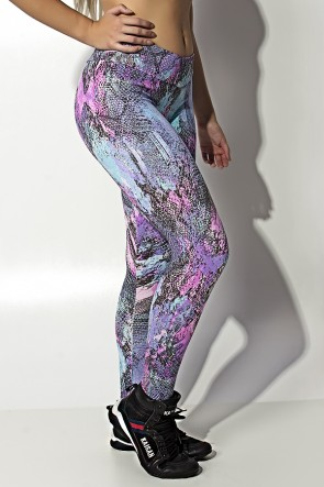 Legging Estampada Cós Baixo (Escama Colorida 4) | Ref: KS-F343-010