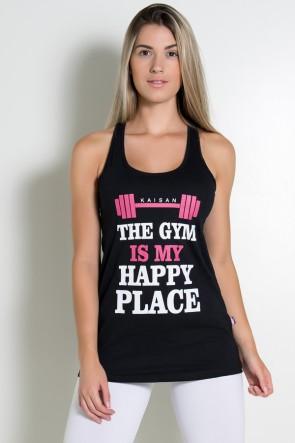 Sobre Legging Renata de Malha Nadador (The Gym is my Happy Place) (Preto) | Ref: KS-R69-001