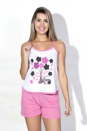 Babydoll Feminino 023 (rosa com flores)
