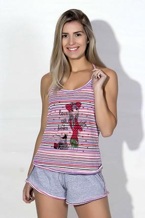 Babydoll Feminino 258 (Rosa listrado)