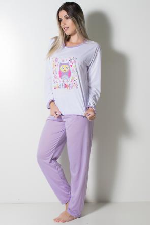 Pijama Feminino Longo 074 (Lilás Coruja) | Ref: CEZ-PA074-006