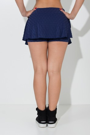 Short Saia Isabelle Tecido Bolha (Azul Marinho) | Ref: KS-F265-003