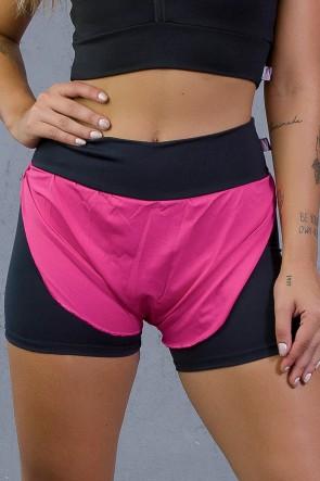 Short de Corrida Liso com Detalhe de Microlight (Preto / Rosa Pink) | Ref: KS-F2073-001