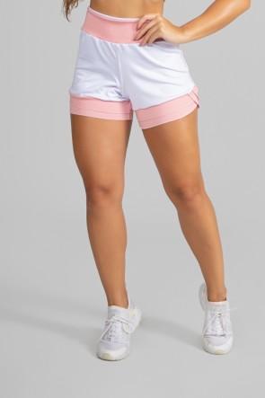 Short Duas Cores com Recorte (Branco/Rosa) | Ref: P01-2-A