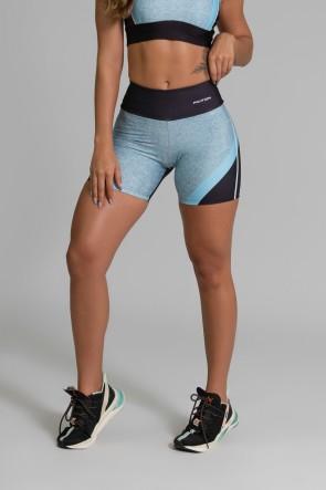 Short Fitness Meia Perna Estampa Digital Linear Blue | Ref: GO353