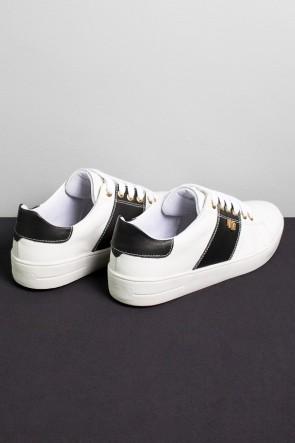 Tênis Mini Sneaker com Cadarço (Branco / Preto)   Ref: KS-T42-003