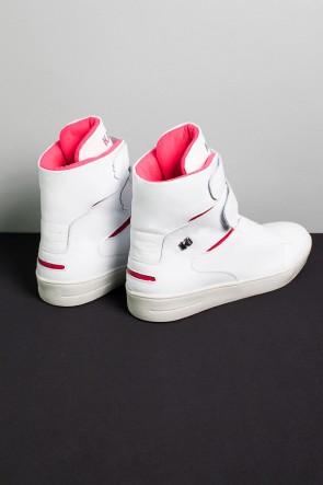Sneaker Cano Alto com Velcro (Branco / Rosa Pink) | Ref: KS-T47-001