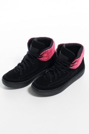 Sneaker Nobuck com Jacquard (Preto / Pink) | Ref: KS-T55