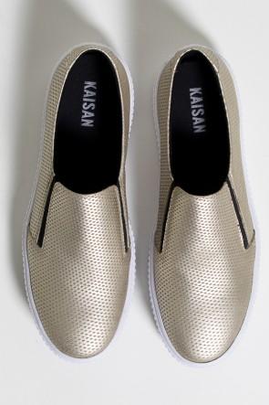 Tênis Slipper Metalizado (Dourado / Branco) 786-04 | Ref: KS-T79-001