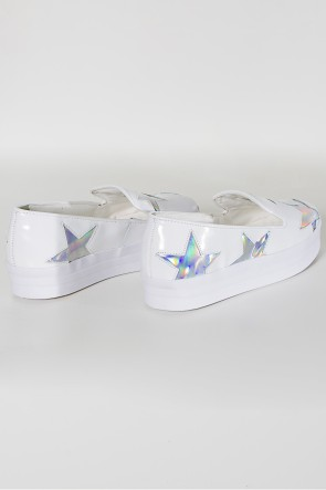 Tênis Slip On Flatform com Detalhe Holográfico (Branco) | Ref: KS-T64-001