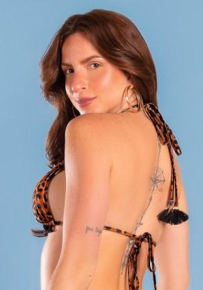 Top Biquíni Cortininha com Babado Estampa Digital (Leopard) | Ref: K2942-A