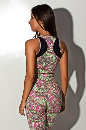 Conjunto Cropped Estampado com Detalhe Liso + Legging Estampada Cinza com Rosa Laranja e Verde | Ref: KS-F848-003