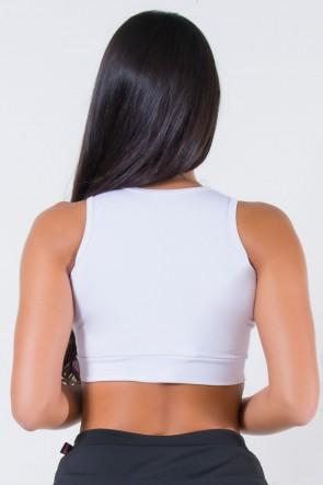 Top Liso com Recorte e Detalhe no Peito (Branco) | Ref: KS-F759-002