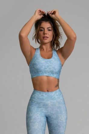 Top Nadador Fitness com Viés Estampa Digital Blue Lace | Ref: GO368