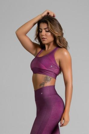 Top Nadador Fitness com Viés Estampa Digital Fashion Rose | Ref: GO333