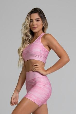 Top Nadador Fitness com Viés Estampa Digital Pink Camo | Ref: GO350