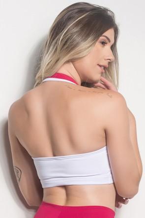Top De Pescoço Com Detalhe Em Tela (Branco / Rosa Pink) | Ref: TPP246-002/002/006