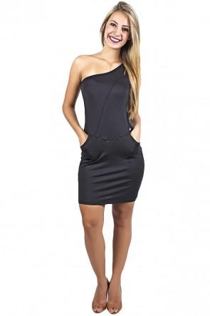 Vestido Preto de Ombro com Bolso | Ref: F961