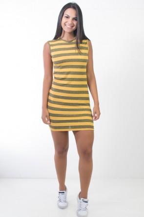Vestido Listrado Curto (Amarelo) | Ref: CEZ-CZ600-002