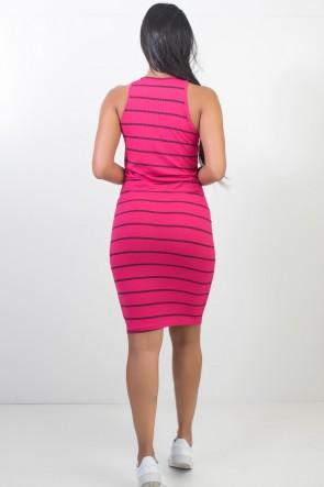 Vestido Listrado Midi Comprido (Pink) | Ref: CEZ-CZ601-003