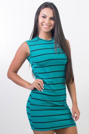 Vestido Listrado Curto (Verde) | Ref: CEZ-CZ600-004