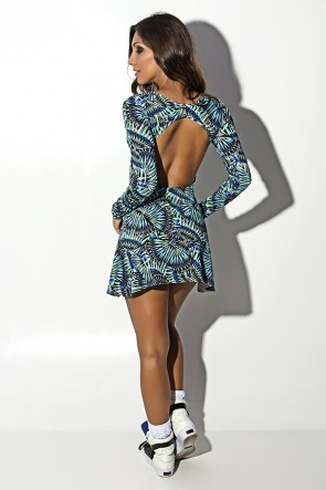 Vestido Laura Estampado (Azul Verde e Preto) | Ref: KS-R79-001